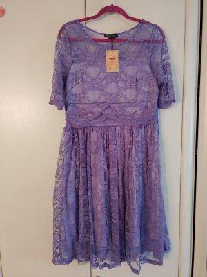 Kleid Knielang Kurzarm Cocktail Swing Hochzeit Party Lavendel XL
