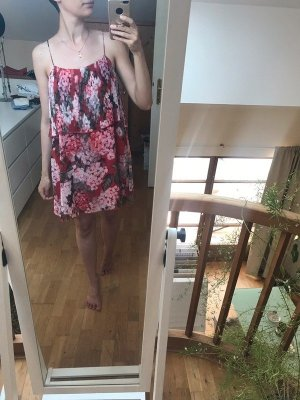 Kleid Kurz Cocktail Dress Chiffon Rot Geblümt M