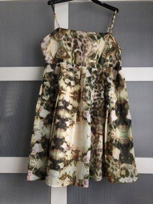 Keine Marke Sukienka z rękawem balonowym jasnozielony-kremowy