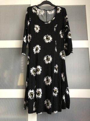 Kleid L schwarz weiss gelb
