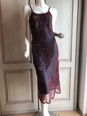 Kleid lang 34 bordeauxrot Kunstseide Hippy Style Vintage