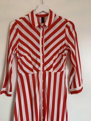 Kleid lang rot weiß gestreift