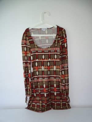 Kleid Langarm Wadenlang Rundhals Muster Braun Orange Beige TopStudio Gr.36 TopStudio (NP: 35€)