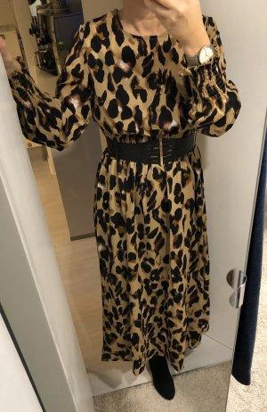 Vestido largo negro-marrón