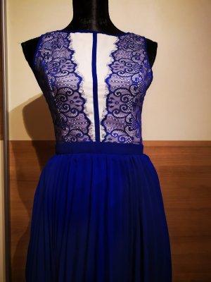 Kleid Little Mistress Abschluss Hochzeit Freizeitkleid neu mit Spitze blau/weiß 36