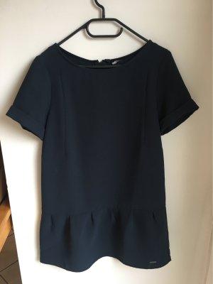 Kleid, locker geschnitten mit Volant, marine