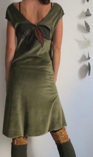 Vestido Hippie verde oscuro-verde bosque Algodón
