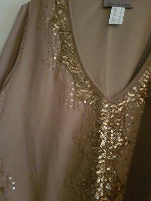 Mandarin Sequin Dress taupe-brown