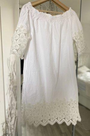 Mango Vestido strapless blanco-blanco puro