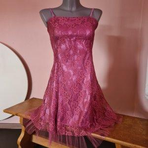 Kleid mauve rose mit tüll supersüß A-Linie Gr. 32 supersüß auch für Mädchen