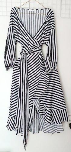 Gestuz Robe mi-longue blanc-noir coton