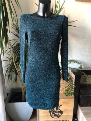 Kleid Mini dunkelgrün Glitzer