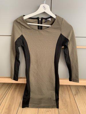 H&M Sukienka z długim rękawem taupe-czarny