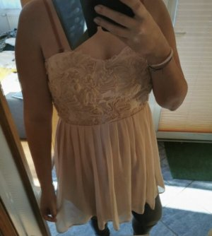 Kleid Mini locker schulterfrei Rosen