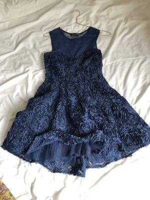 Kleid Mini rüschen Tüll dunkelblau Rosen S blau Cocktail  abiball schick Ball Festival Party