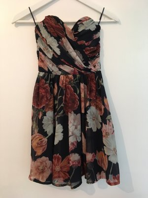 Kleid Mini Trägerlos dunkelblau Blumen Muster geblümt boho bohemian