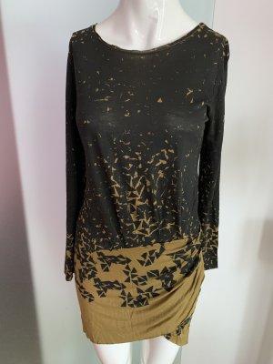 Kleid Minikleid Tunika vorne gereift Gr 34 36 XS von Dagmar
