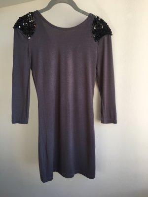 Kleid Minni Pailletten grau