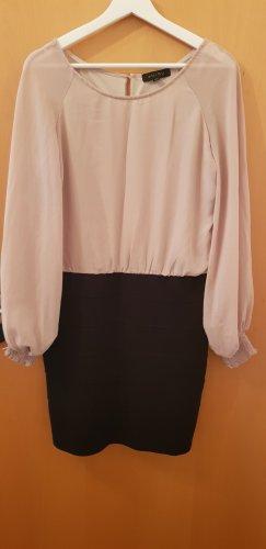 Amisu Robe à manches longues noir-rose chair