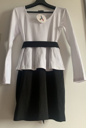 Peplum Dress black-white