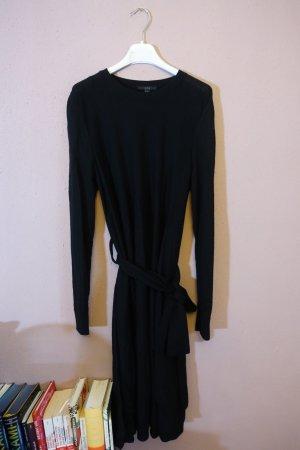 Kleid mit Bindegürtel von COS, Schwarz, sehr sehr dunkles Blau, Strickkleid, Wolle