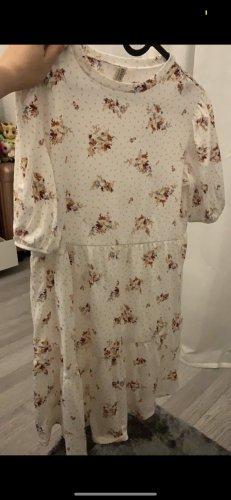 H&M Sukienka z rękawem balonowym biały-różany