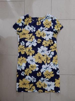 Kleid mit Blumenmuster in dunkel blau gelb weiß Gr. 34 von GANT