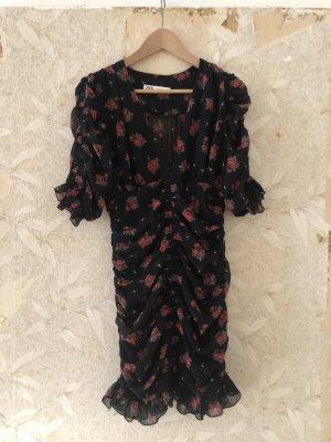 Zara Letnia sukienka czarny-ceglasty