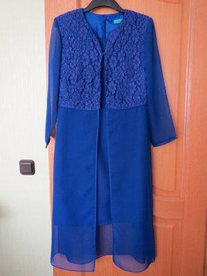 Kleid mit Chiffon-Spitze Überwurf-Mantel, Gr.42/M