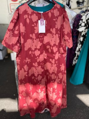 Kleid mit formendem Innenkleid zum Herausknöpfen Gr. 48 rot von Sheego