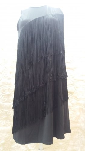 Mango Fringed Dress black polyester
