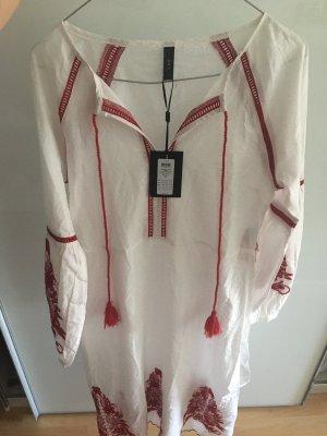 YAS Abito a tunica bianco-rosso scuro