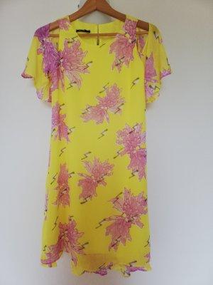 Kleid mit modischen Cut-outs, sonnengelb mit rose Blüten