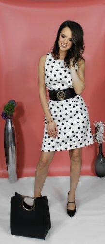 Kleid mit Punktmuster, Etuikleid schwarz-weiß mit Rundhalsausschnitt