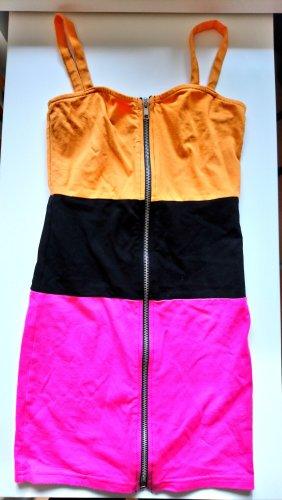 H&M Sukienka mini czarny-pomarańczowy