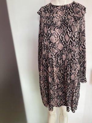 Kleid mit Rüschen Schlangen Muster Gr 42 XL