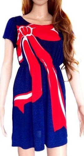 Influence Shortsleeve Dress dark blue-red polyester