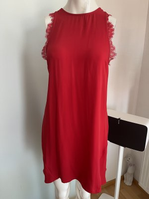 Kleid mit Spitze Details ausgestellt Gr 36 S rot