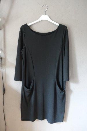 Vila Vestido de tela de jersey negro tejido mezclado