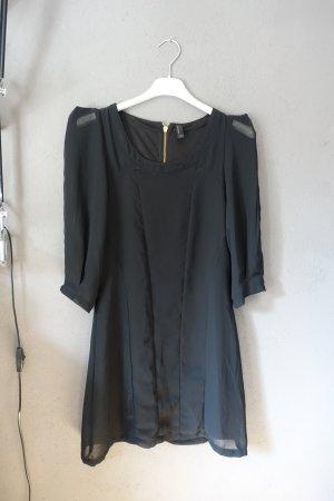 Kleid mit transparenten Ärmeln, Reißverschluss, Vero Moda, schwarz
