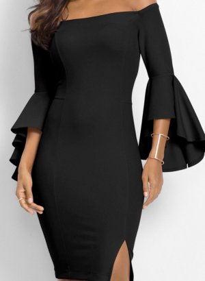 b.p.c. Bonprix Collection Robe mi-longue noir