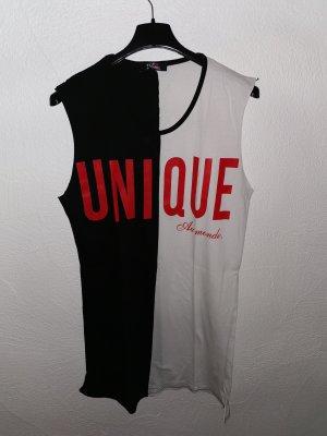 Moda Italiana Vestido de tela de sudadera blanco-negro