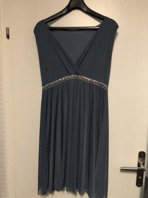 Chiffon jurk lichtblauw-petrol