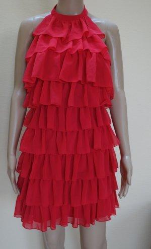 lipsy london Sukienka z falbanami czerwony neonowy