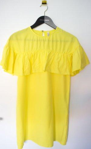 Zara Vestido estilo flounce amarillo Algodón