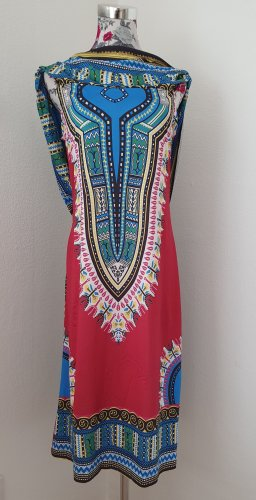 Hooded Dress raspberry-red-neon blue