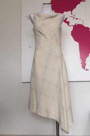 Kleid Mugler weiß creme Gr. 38 Asymmetrie Wasserfallkragen