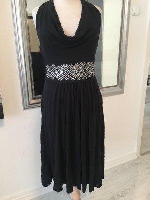 Edc Esprit Vestido de cuello Halter negro-color plata