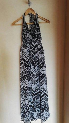 Kleid Neckholder schwarz weiß gemustert Gr. 46 Maxikleid Sommerkleid NEU