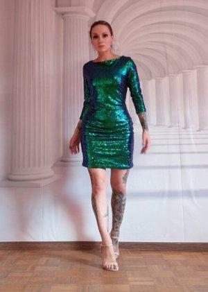 Kleid Neu Pailletten von Glamorous XS 32 34 Glitzer grün so schön